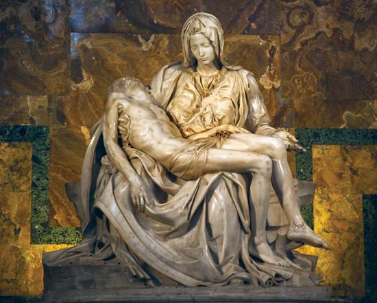 Pietà, marble sculpture by Michelangelo, 1499 in St. Peter's Basilica, Rome